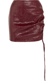 Santa Maria woven leather mini skirt