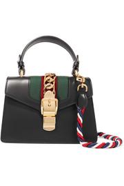 Sylvie mini chain-trimmed leather and canvas shoulder bag