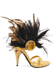 Feather-trimmed crystal-embellished satin sandals