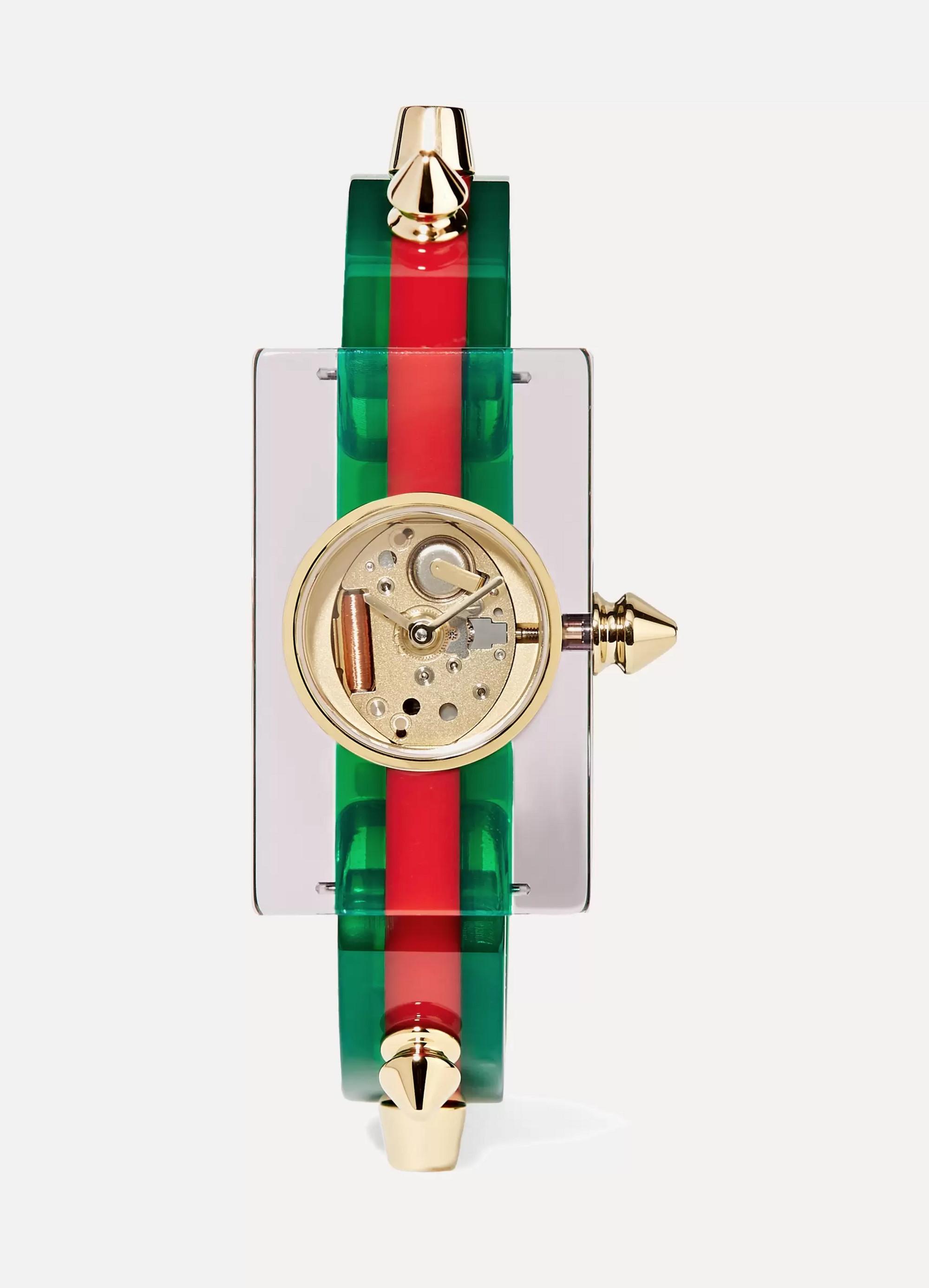 Green Plexiglass and gold-tone watch   Gucci   NET-A-PORTER