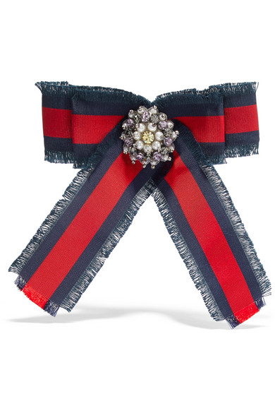 Gucci - Grosgrain, Crystal And Faux Pearl Brooch - Red