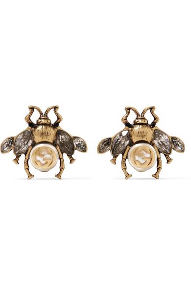 Perle De Faux Tons D'or Et Boucles D'oreilles En Cristal - Taille Gucci 6TyUJ