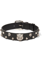 Leather and silver-tone choker
