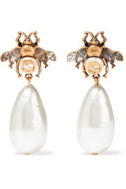 Gucci Gold-plated, crystal and faux pearl earrings