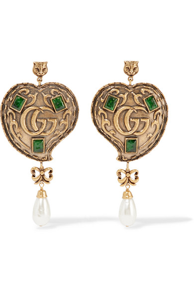 Gucci - Burnished Gold-tone, Faux Pearl And Crystal Earrings - Brass