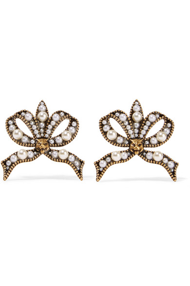 Gucci Faux-pearl and feline-embellished bow earrings E5Sra