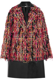 Alexander McQueen Leather-paneled fringed bouclé-tweed coat