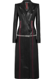 Alexander McQueen Whipstitched double-breasted leather coat