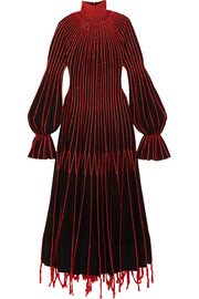 Alexander McQueen Embroidered plissé-silk turtleneck dress