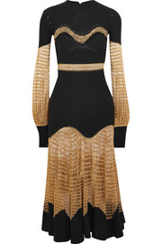 Alexander McQueen Metallic open-knit and ribbed wool-blend midi dress