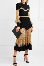 Metallic open-knit and ribbed wool-blend midi dress