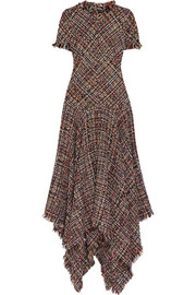 Alexander McQueen Asymmetric tweed midi dress