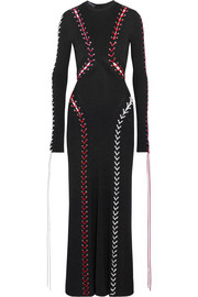Alexander McQueen Whipstitched ribbed-knit maxi dress