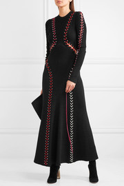 Whipstitched ribbed-knit maxi dress