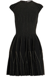 Alexander McQueen Metallic embroidered wool-blend mini dress