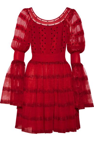 ALEXANDER MCQUEEN Stretch-Knit Paneled Silk-Blend Point D'Esprit Mini Dress in Red-Black
