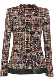 Leather-trimmed fringed tweed jacket