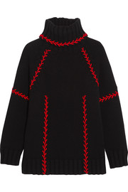 Alexander McQueen Oversized embroidered cashmere turtleneck sweater