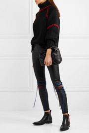 Oversized embroidered cashmere turtleneck sweater