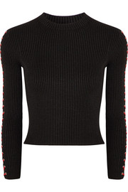 Cropped whipstitched ribbed silk-blend sweater