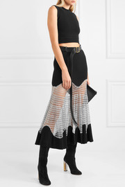 Metallic open knit-paneled ribbed wool-blend maxi skirt