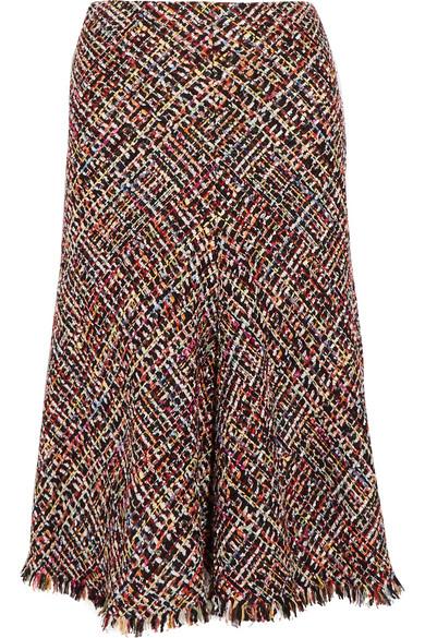 Alexander McQueen - Fringed Tweed Midi Skirt - Red