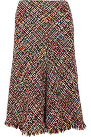 Alexander McQueen Fringed tweed midi skirt