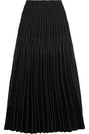 Metallic embroidered plissé-silk tussah maxi skirt
