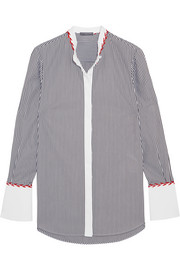 Alexander McQueen Embroidered striped cotton shirt