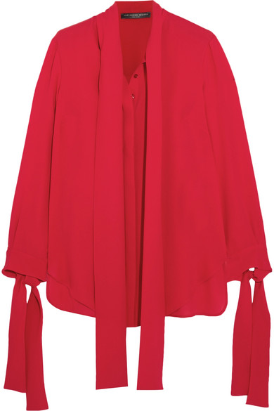 Alexander McQueen - Pussy-bow Silk-crepe Blouse - Crimson