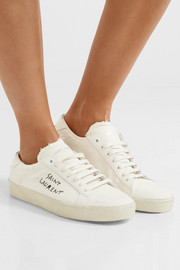 Saint Laurent Court Classic leather-trimmed distressed cotton sneakers