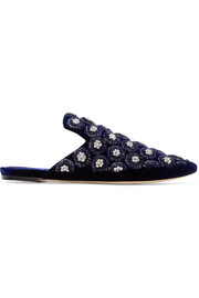 Cosimo embroidered velvet slippers