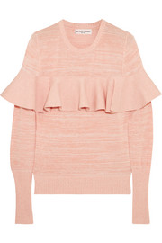 APIECE APART Ruffled mélange cotton-blend sweater