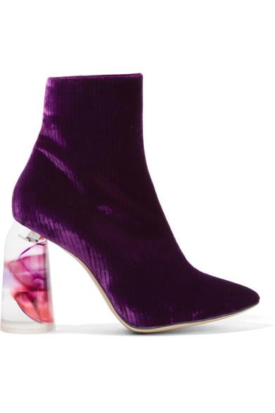 Ellery - Velvet Ankle Boots - Dark purple