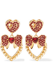 Dolce & Gabbana Gold-tone crystal clip earrings