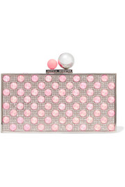 Clara embellished silver-tone box clutch