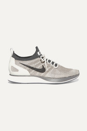 Nike Air Zoom Mariah leather-trimmed metallic Flyknit sneakers