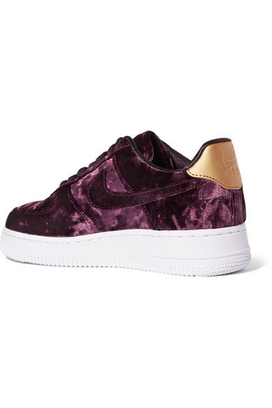 Air 1 Faux Velvet Trimmed Force Crushed Sneakers Leather Metallic Pkn0Ow