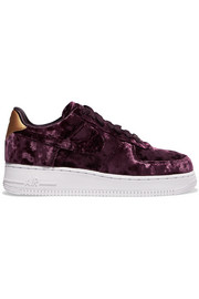 Nike Air Force 1 metallic faux leather-trimmed crushed-velvet sneakers