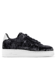 Air Force 1 metallic faux leather-trimmed crushed-velvet sneakers