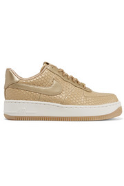 NikeLab Air Force 1 metallic snake-effect leather sneakers