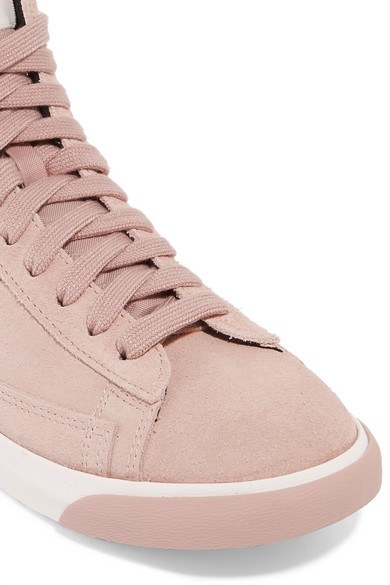 newest 211ae 30540 Vintage Blazer leather-trimmed suede high-top sneakers