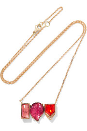 Brooke Gregson Maya Halo 18-karat gold, tourmaline and opal necklace