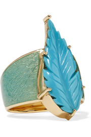 Brooke Gregson Maya 18-karat gold, turquoise and enamel ring