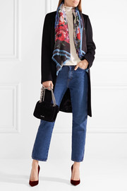 Fringed floral-print cashmere and silk-blend scarf
