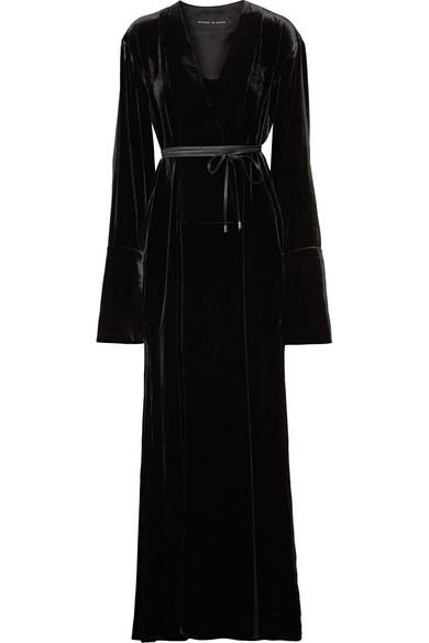 Michael Lo Sordo - Wrap-effect Velvet Maxi Dress - Black