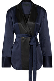 Reveal belted silk-satin blouse