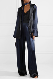 Michael Lo Sordo Reveal belted silk-satin blouse