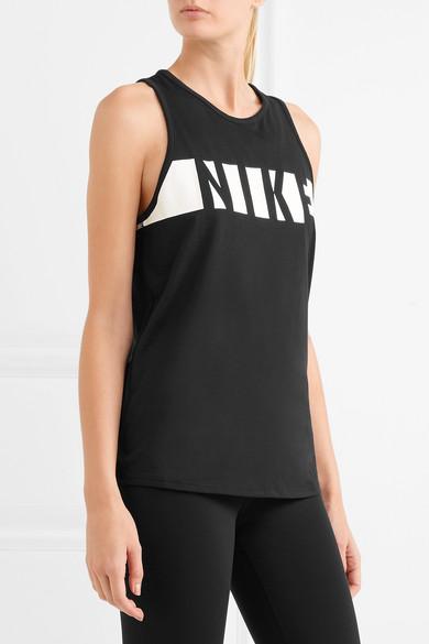 Nike Bedrucktes Tanktop aus Dri-FIT-Jersey aus einer Baumwollmischung