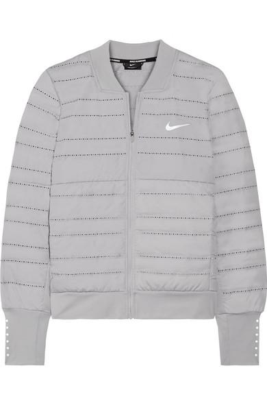 Nike AeroLoft gesteppte Daunenjacke aus Dri-FIT-Shell und Stretch-Jersey mit Perforationen